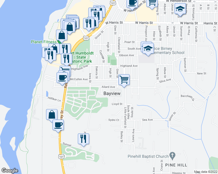 map of restaurants, bars, coffee shops, grocery stores, and more near Allard Avenue in Eureka