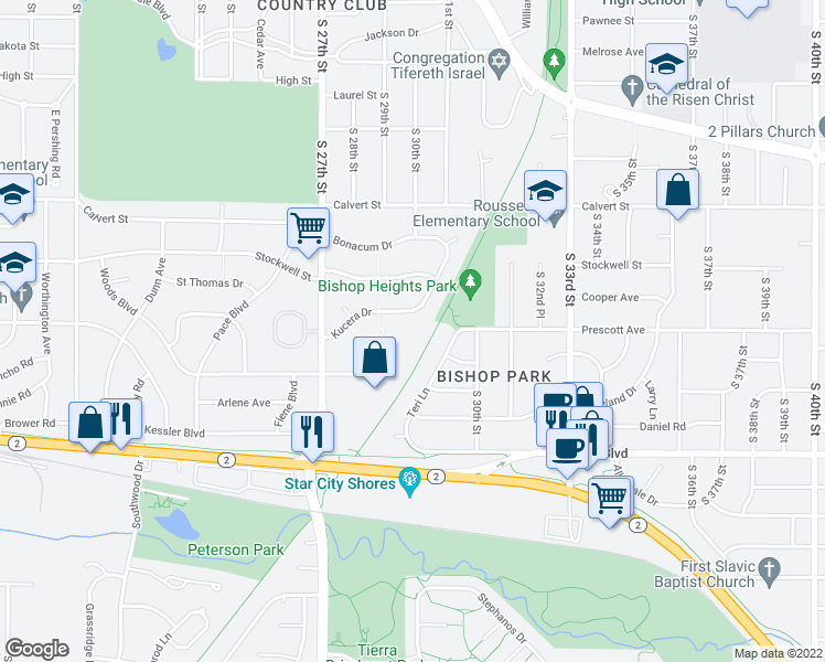 map of restaurants, bars, coffee shops, grocery stores, and more near 2800 Woods Boulevard in Lincoln