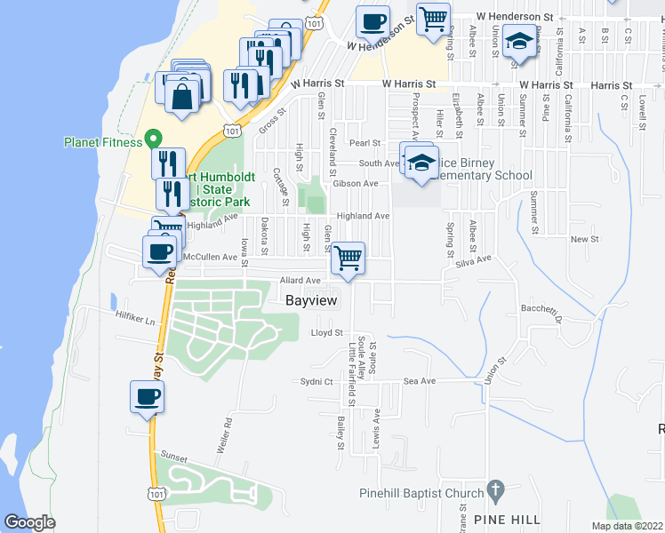 map of restaurants, bars, coffee shops, grocery stores, and more near 3615 Glen Street in Eureka