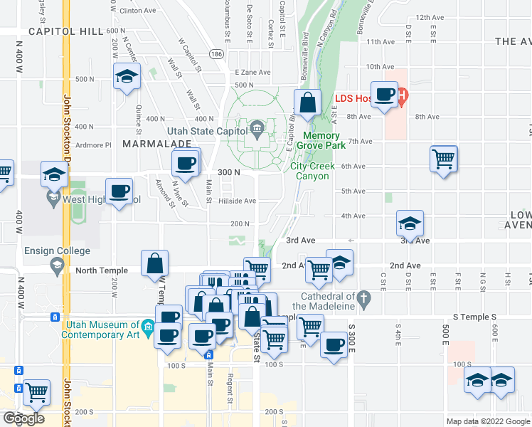 map of restaurants, bars, coffee shops, grocery stores, and more near 210 North State Street in Salt Lake City