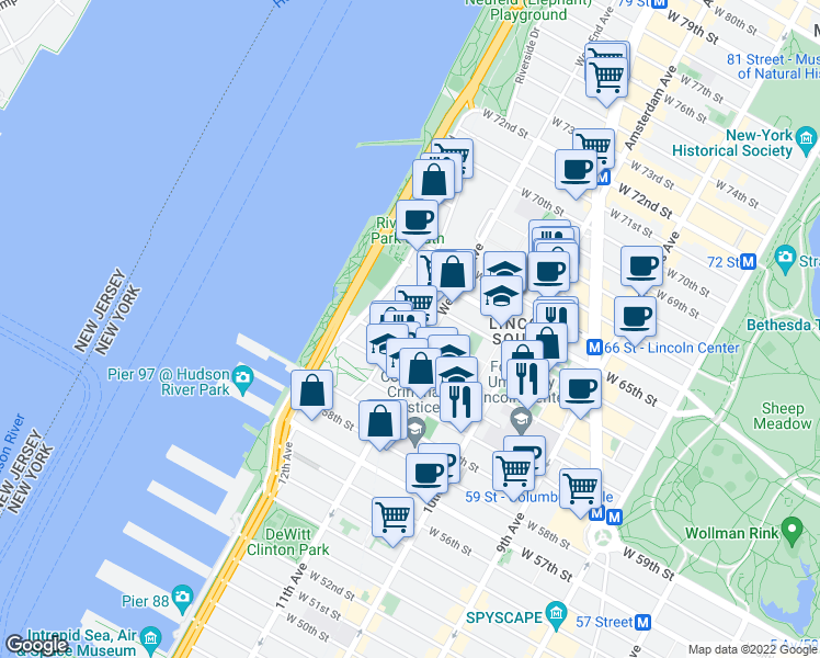 map of restaurants, bars, coffee shops, grocery stores, and more near 75 West End Avenue in New York