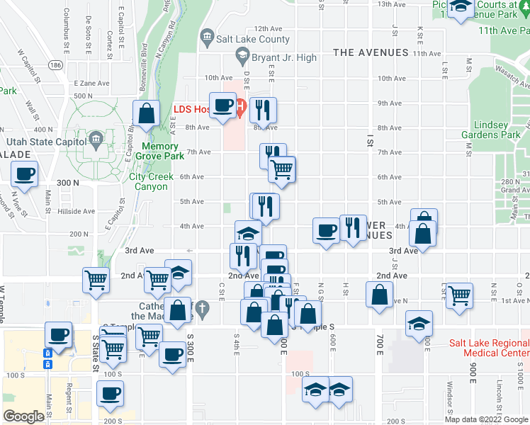 map of restaurants, bars, coffee shops, grocery stores, and more near 227 E Street East in Salt Lake City
