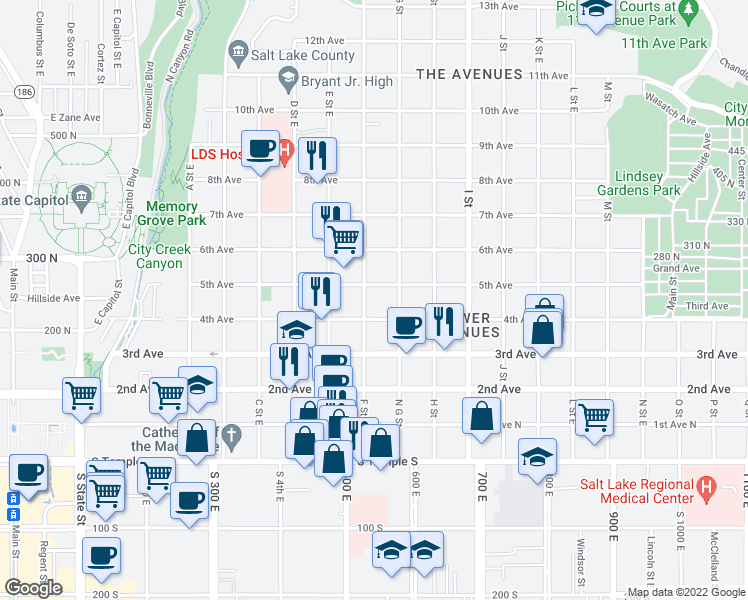 map of restaurants, bars, coffee shops, grocery stores, and more near 230 F Street East in Salt Lake City