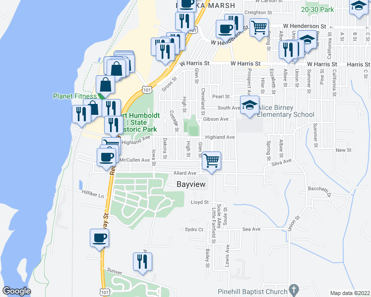 map of restaurants, bars, coffee shops, grocery stores, and more near 3536 High Street in Eureka