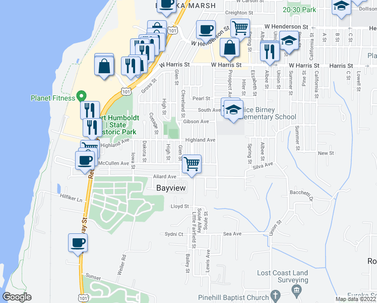 map of restaurants, bars, coffee shops, grocery stores, and more near 3538 Oregon Street in Eureka