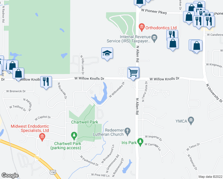 map of restaurants, bars, coffee shops, grocery stores, and more near 7241 North Lakeside Court in Peoria