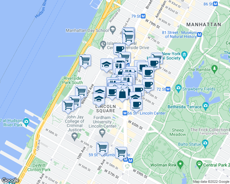 map of restaurants, bars, coffee shops, grocery stores, and more near 170 Amsterdam Avenue in New York