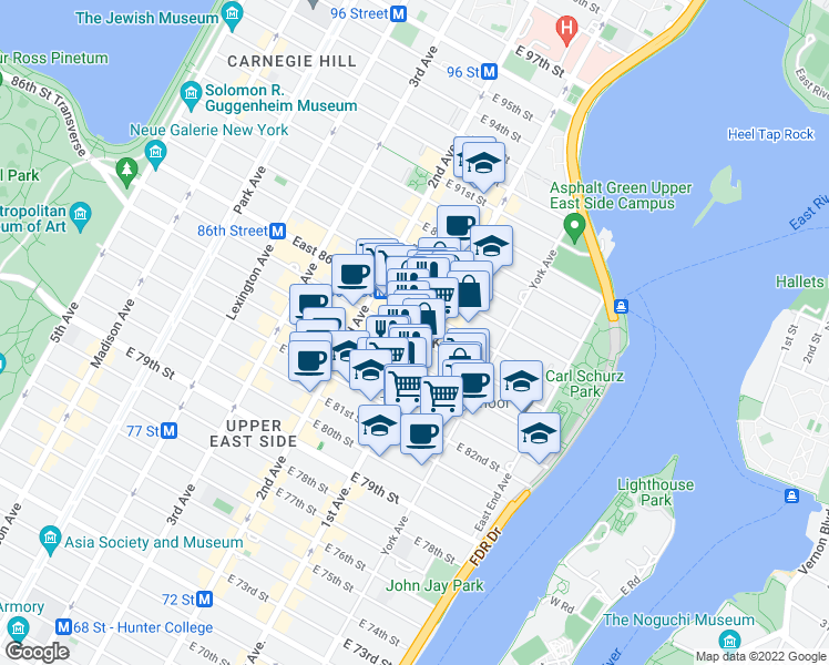 map of restaurants, bars, coffee shops, grocery stores, and more near 349 East 85th Street in New York