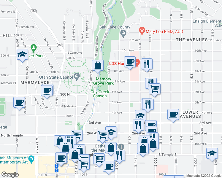 map of restaurants, bars, coffee shops, grocery stores, and more near 205 East 6th Avenue in Salt Lake City