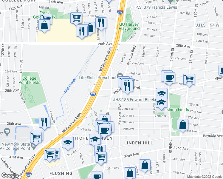 map of restaurants, bars, coffee shops, grocery stores, and more near 25th Avenue in Queens