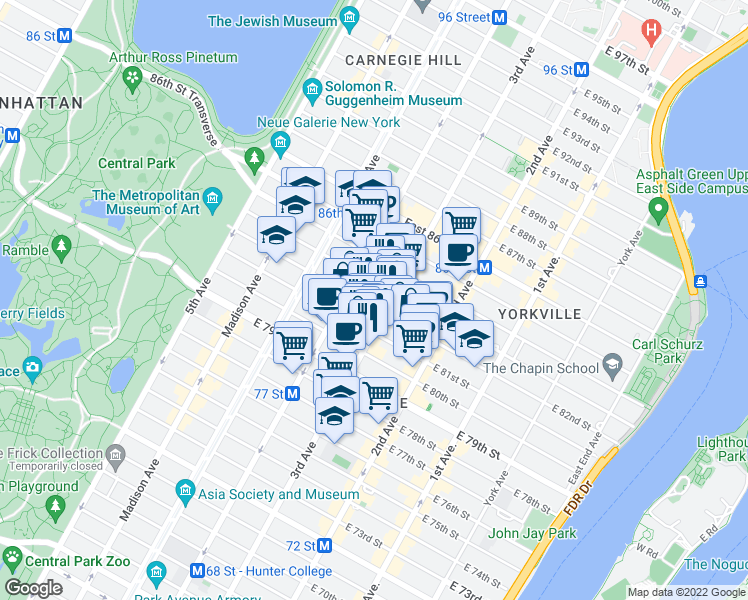 map of restaurants, bars, coffee shops, grocery stores, and more near 1441-1445 3rd Avenue in New York