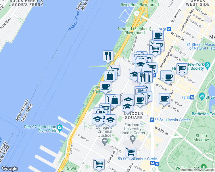 map of restaurants, bars, coffee shops, grocery stores, and more near 140 Riverside Boulevard in New York