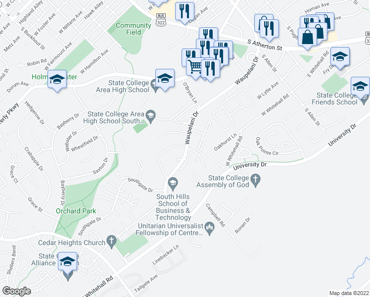 map of restaurants, bars, coffee shops, grocery stores, and more near 445 Waupelani Drive in State College