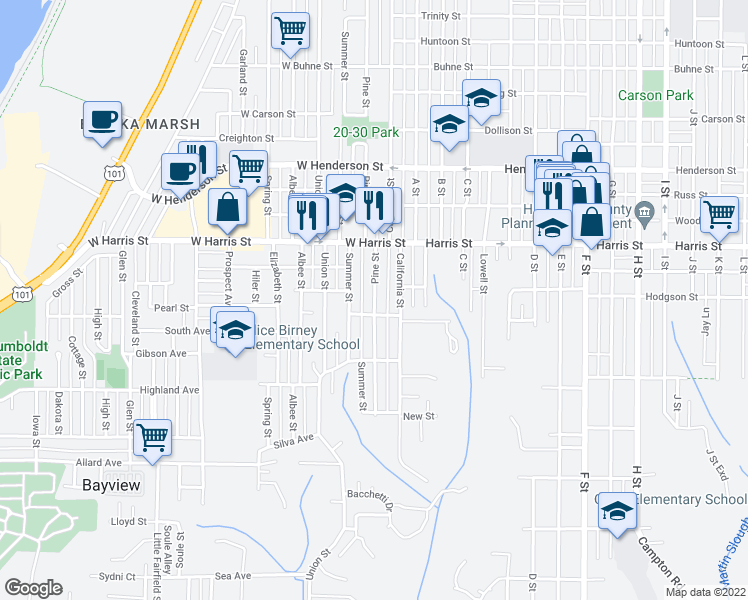 map of restaurants, bars, coffee shops, grocery stores, and more near 3322 Pine Street in Eureka