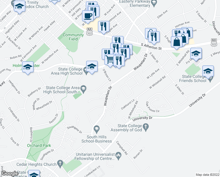 map of restaurants, bars, coffee shops, grocery stores, and more near 411 Waupelani Drive in State College