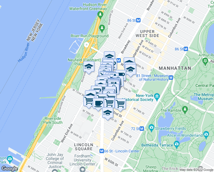 map of restaurants, bars, coffee shops, grocery stores, and more near 2121 Broadway in New York