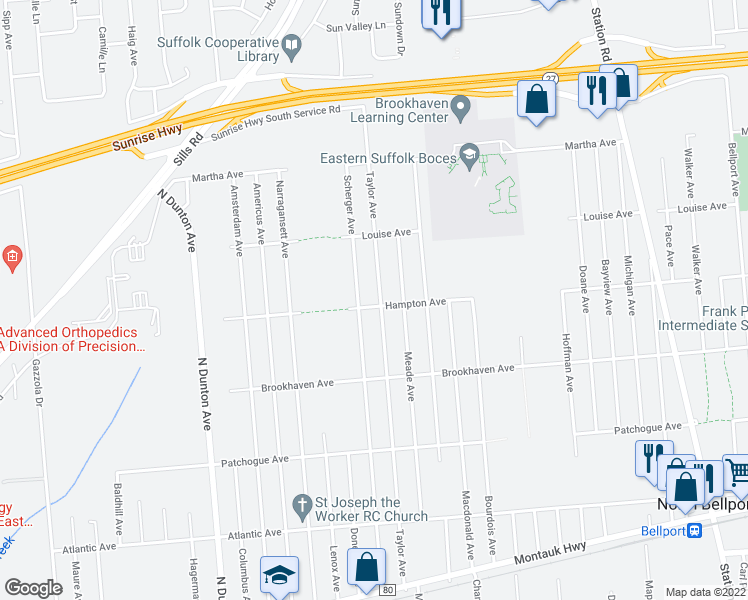 map of restaurants, bars, coffee shops, grocery stores, and more near 802 Taylor Avenue in Patchogue