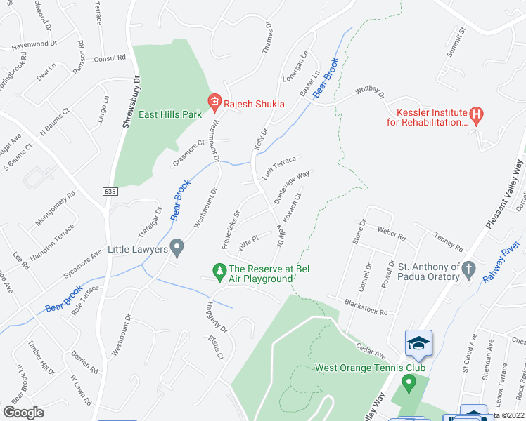 map of restaurants, bars, coffee shops, grocery stores, and more near 3 Hage Terrace in West Orange