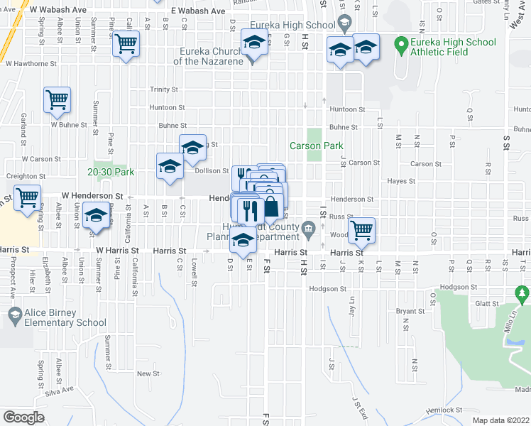 map of restaurants, bars, coffee shops, grocery stores, and more near 2840 F St in Eureka