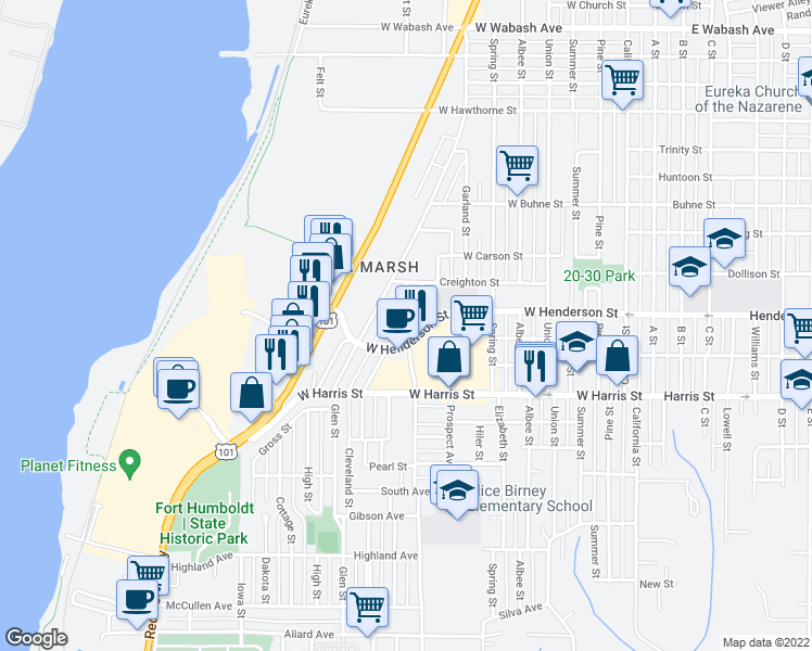 map of restaurants, bars, coffee shops, grocery stores, and more near 2835 Ocean Avenue in Eureka