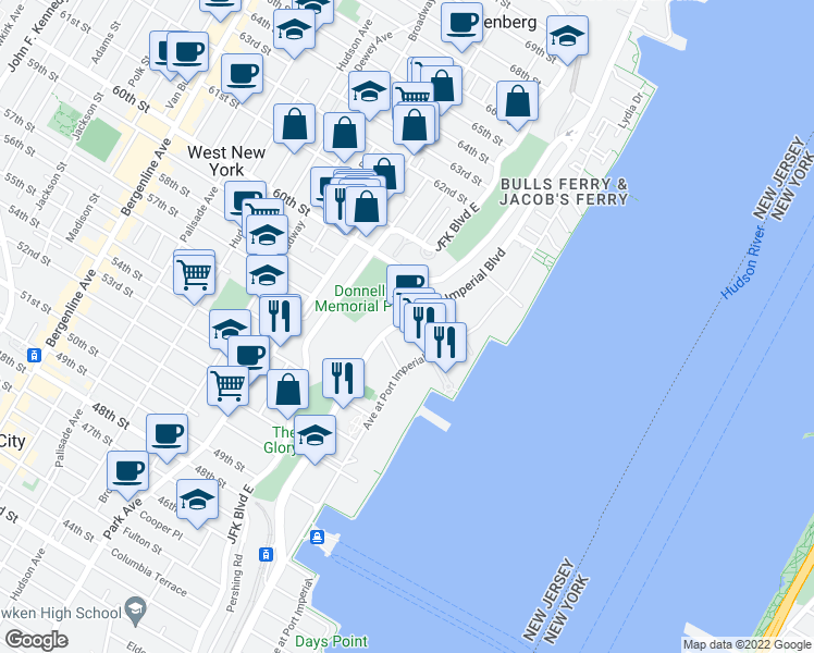 map of restaurants, bars, coffee shops, grocery stores, and more near 11 Lydia Drive in West New York