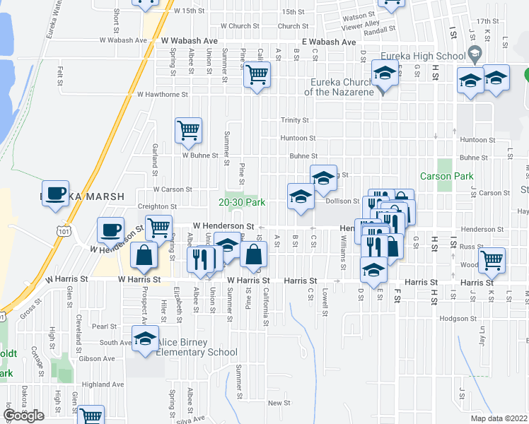 map of restaurants, bars, coffee shops, grocery stores, and more near 2723 California Street in Eureka