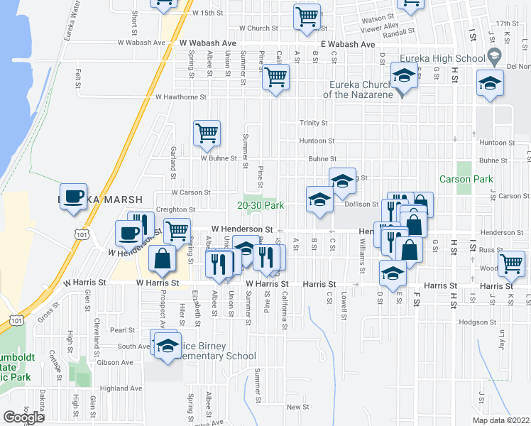 map of restaurants, bars, coffee shops, grocery stores, and more near 2709 Pine Street in Eureka