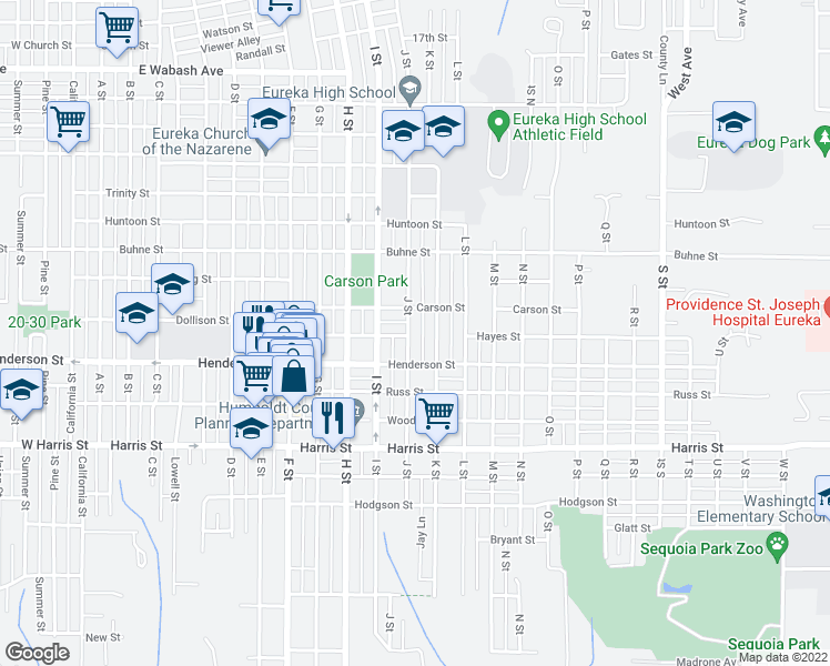map of restaurants, bars, coffee shops, grocery stores, and more near 2623 J Street in Eureka