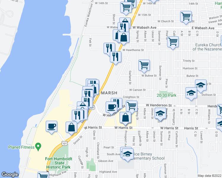 map of restaurants, bars, coffee shops, grocery stores, and more near 2536 Fairfield Street in Eureka