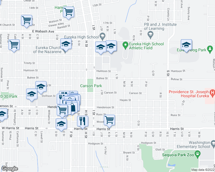 map of restaurants, bars, coffee shops, grocery stores, and more near 2442 K Street in Eureka