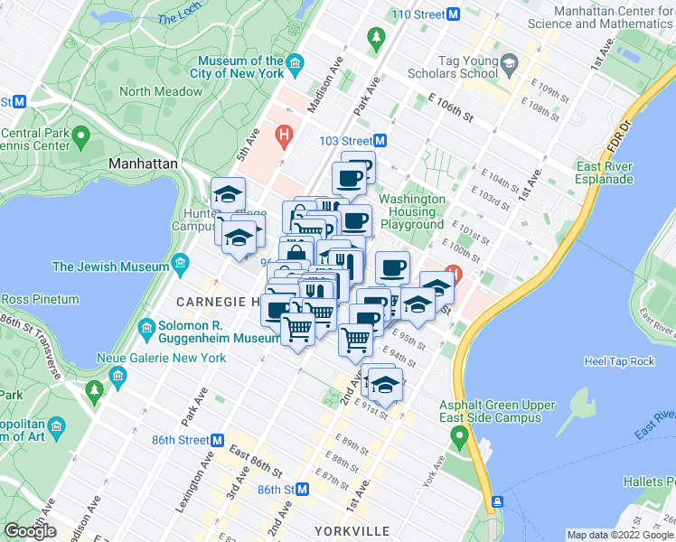 map of restaurants, bars, coffee shops, grocery stores, and more near 1700 3rd Avenue in New York