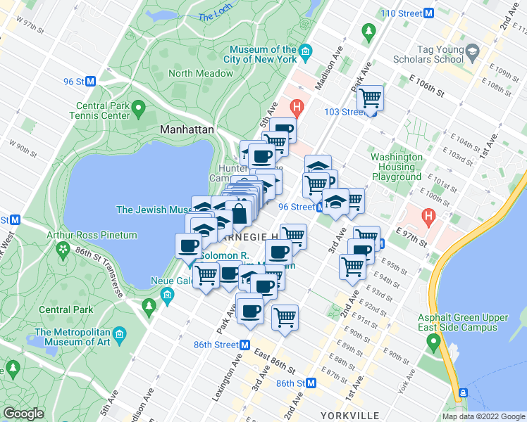 map of restaurants, bars, coffee shops, grocery stores, and more near 52-98 East 93rd Street in New York