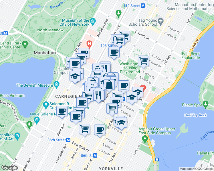 map of restaurants, bars, coffee shops, grocery stores, and more near 175 East 96th Street in New York