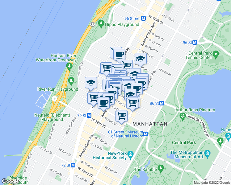 map of restaurants, bars, coffee shops, grocery stores, and more near 519 Amsterdam Avenue in New York