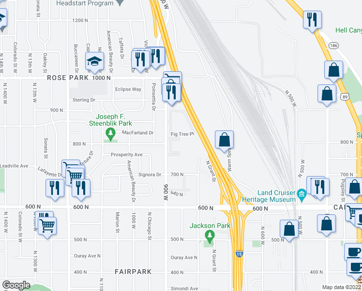 map of restaurants, bars, coffee shops, grocery stores, and more near 780 North 900 West in Salt Lake City