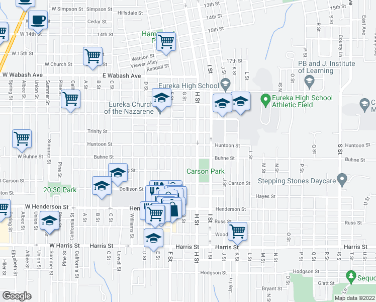 map of restaurants, bars, coffee shops, grocery stores, and more near 2311 G St in Eureka