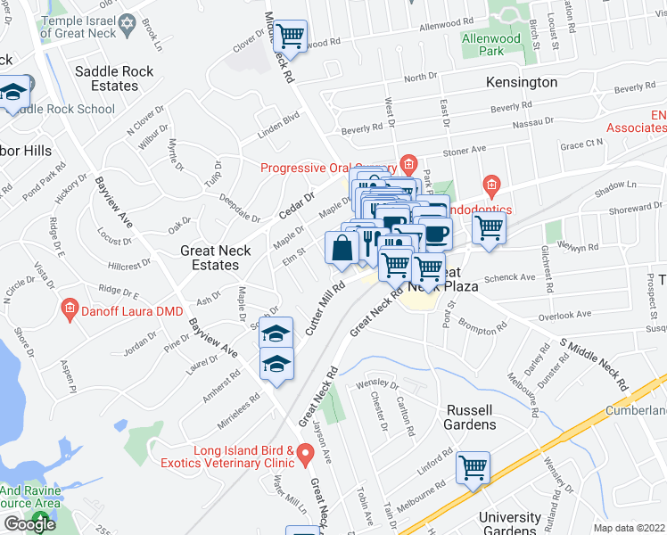 map of restaurants, bars, coffee shops, grocery stores, and more near 3 Town House Place in Great Neck Plaza