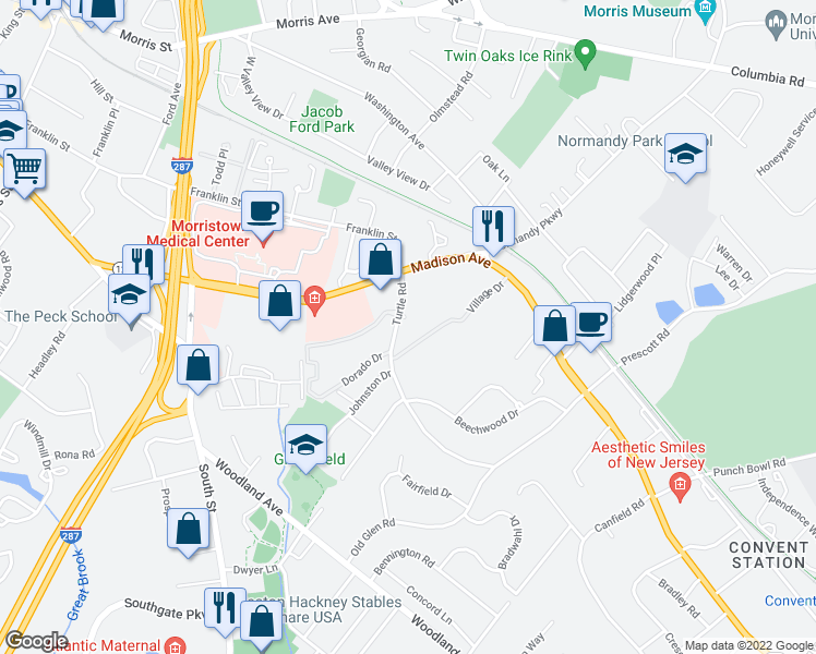map of restaurants, bars, coffee shops, grocery stores, and more near 35 Turtle Road in Morristown