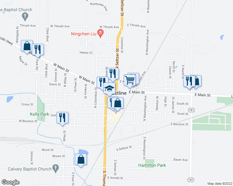 map of restaurants, bars, coffee shops, grocery stores, and more near 101-155 West Main Street in Crestline