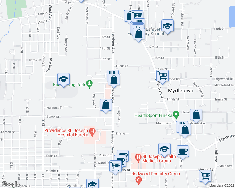 map of restaurants, bars, coffee shops, grocery stores, and more near 2563 Christensen Way in Eureka