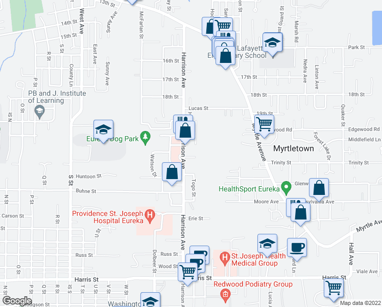 map of restaurants, bars, coffee shops, grocery stores, and more near 2559 Christensen Way in Eureka
