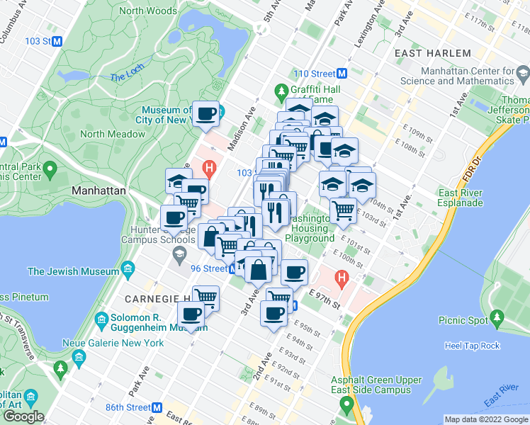 map of restaurants, bars, coffee shops, grocery stores, and more near Lexington Ave & E 100th St in New York