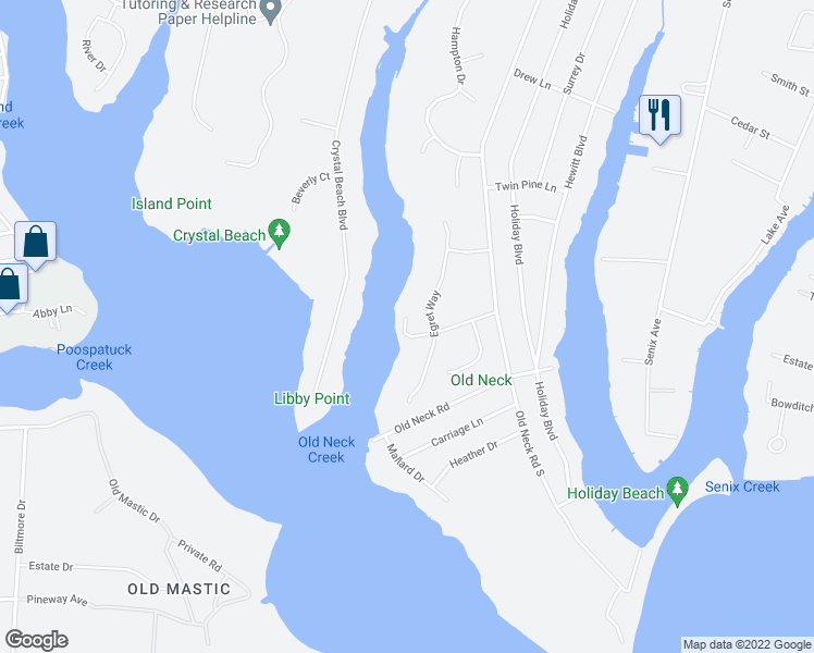 map of restaurants, bars, coffee shops, grocery stores, and more near 33 Cottontail Run in Center Moriches