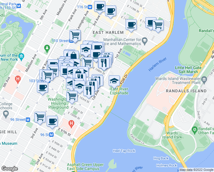 map of restaurants, bars, coffee shops, grocery stores, and more near 401-421 East 106th Street in New York