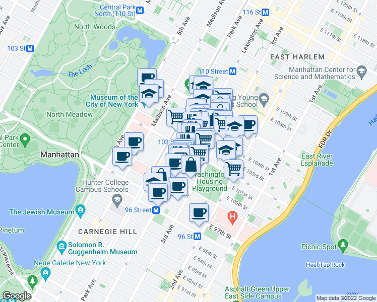 map of restaurants, bars, coffee shops, grocery stores, and more near Lexington Avenue & East 102nd Street in New York