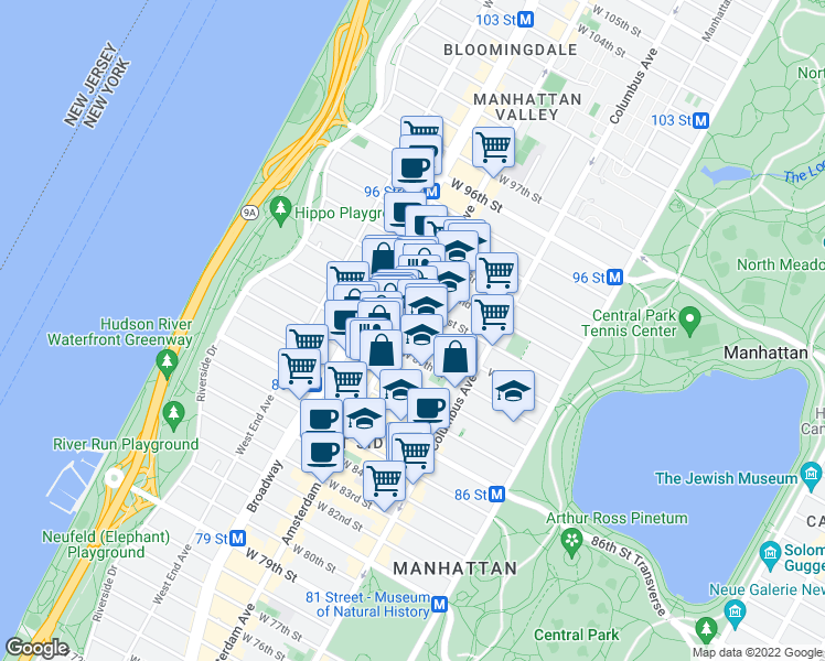 map of restaurants, bars, coffee shops, grocery stores, and more near 137 West 89th Street in New York