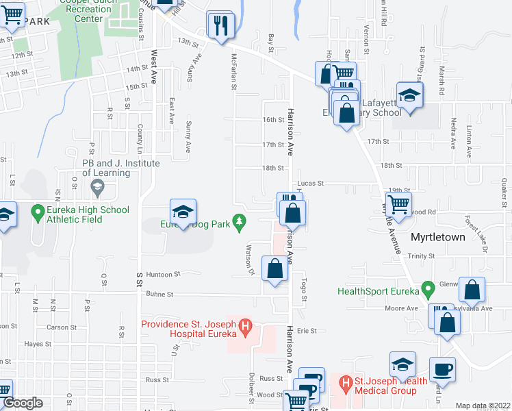 map of restaurants, bars, coffee shops, grocery stores, and more near 2375 Hillside Drive in Eureka