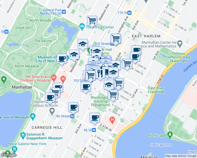 map of restaurants, bars, coffee shops, grocery stores, and more near 1651 Lexington Avenue in New York