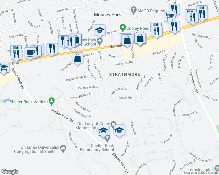 map of restaurants, bars, coffee shops, grocery stores, and more near 74 Chapel Road in Manhasset
