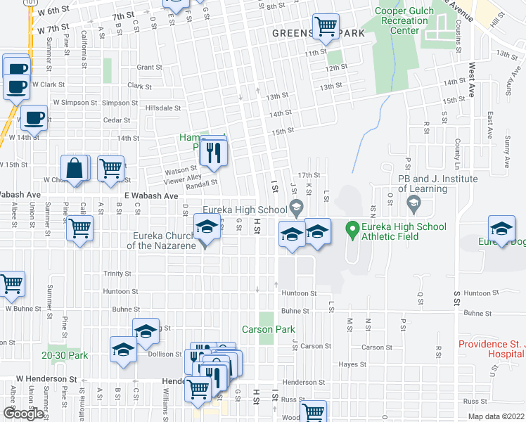 map of restaurants, bars, coffee shops, grocery stores, and more near 1827 H Street in Eureka